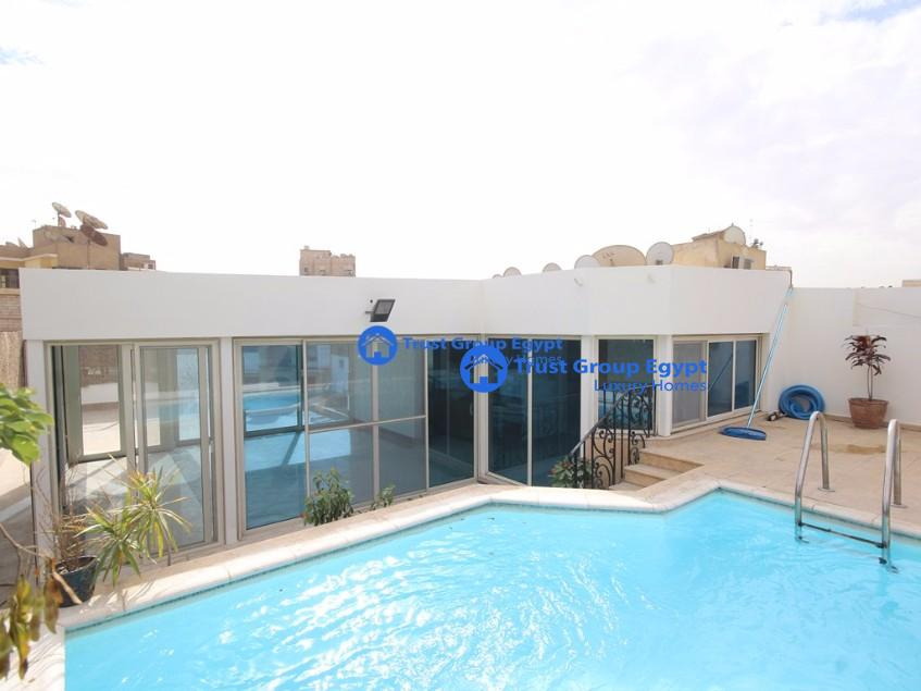 big trace with private swimming pool pent house for rent in maadi degla